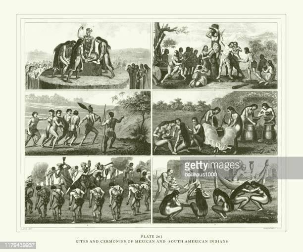 ilustrações de stock, clip art, desenhos animados e ícones de engraved antique, varieties of mankind engraving antique illustration, published 1851 - canibalismo