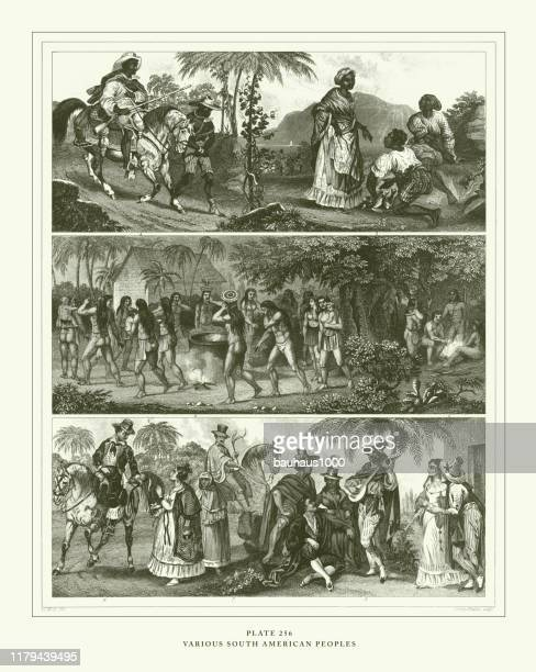 engraved antique, various south american peoples engraving antique illustration, published 1851 - indigenous peoples of south america stock illustrations