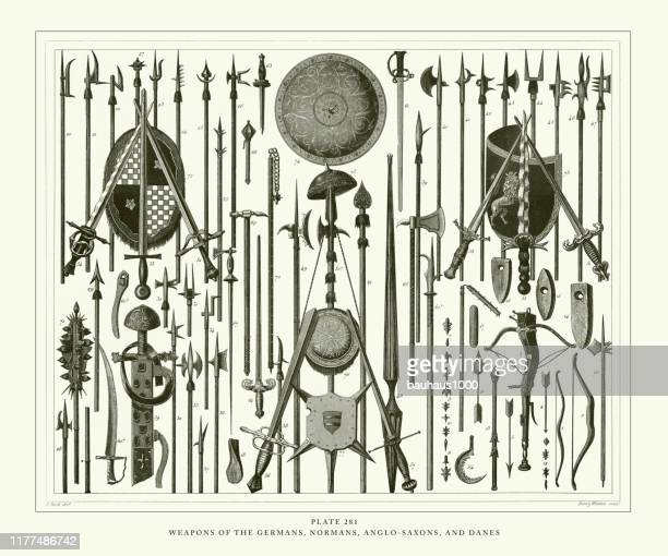 engraved antique, weapons of the germans, normans, anglo-saxons and danes engraving antique illustration, published 1851 - etruscan stock illustrations