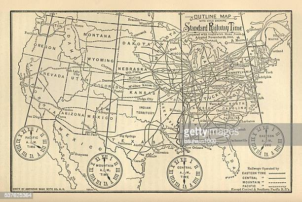 Engraved Chart of United States Time Zones, Circa 1883