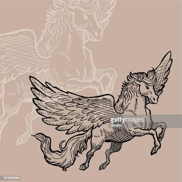 engraved pegasus - pegasus stock illustrations, clip art, cartoons, & icons