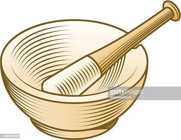 engraved pestle and mortar - mortar and pestle stock illustrations, clip art, cartoons, & icons
