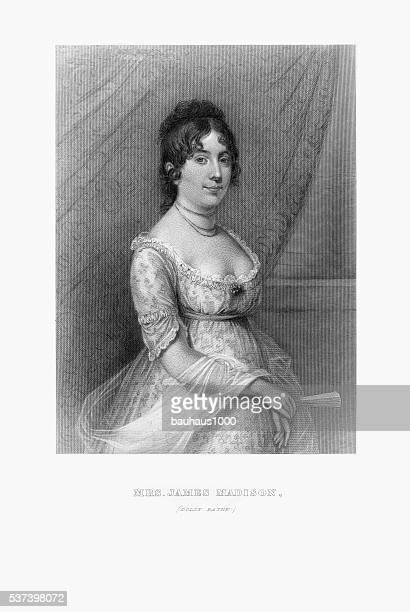 engraved portrait of mrs. james madison, dolly payne, circa 1780 - james madison stock illustrations, clip art, cartoons, & icons