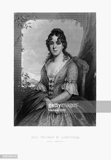 ilustrações, clipart, desenhos animados e ícones de gravados retrato de sra. thomas randolph, martha jefferson, por volta de 1780, - thomas jefferson