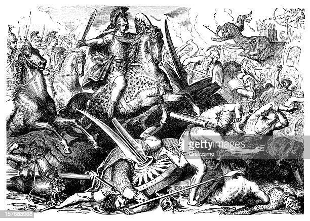 engraving aexander the great at battle of gaugamela from 1876 - alexander the great stock illustrations