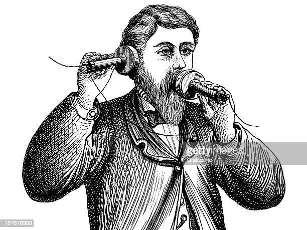 engraving alexander graham bell making a call on antique telephone - 18th century stock illustrations