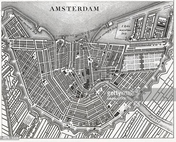 engraving: amsterdam - amsterdam stock illustrations, clip art, cartoons, & icons