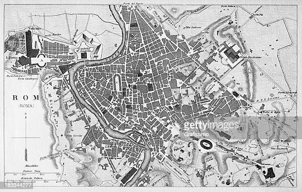 Engraving antique city map of Roma Italy from 1851