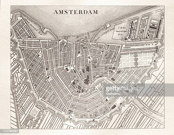 engraving antique map of amsterdam netherlands from 1851 - amsterdam stock illustrations, clip art, cartoons, & icons
