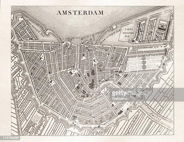 Gravação mapa antigo de Amesterdão, Países Baixos de 1851