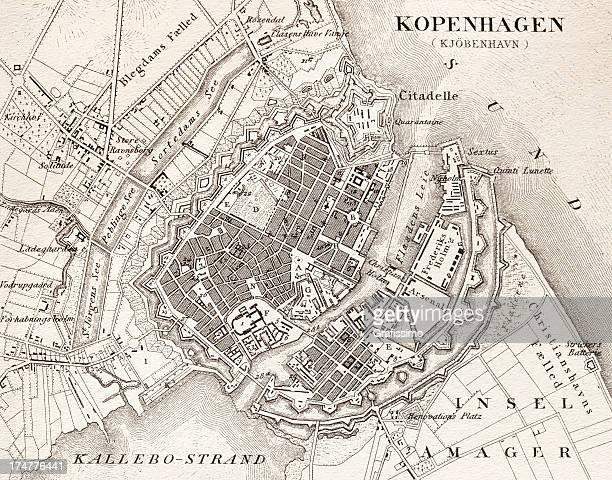 bildbanksillustrationer, clip art samt tecknat material och ikoner med engraving antique map of kopenhagen denmark from 1851 - köpenhamn