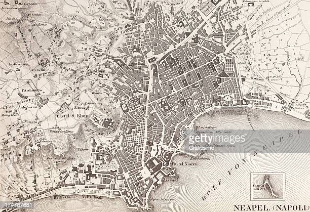 engraving antique map of neapel italy from 1851 - naples italy stock illustrations