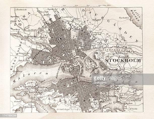 Engraving antique map of Stockholm Sweden from 1851
