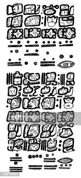 ilustraciones, imágenes clip art, dibujos animados e iconos de stock de grabado aztec jeroglífico en 1870 - calendario maya