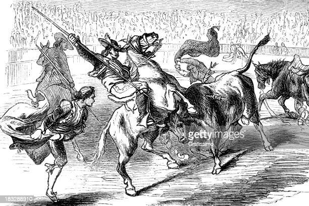 Engraving bullfighting with torero and bull from 1870