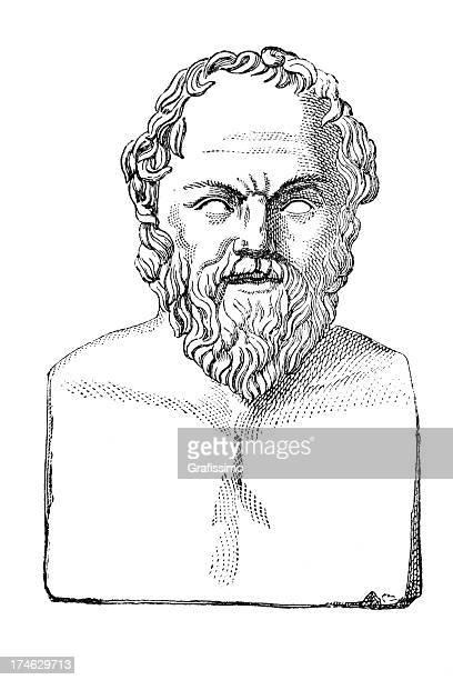 ilustraciones, imágenes clip art, dibujos animados e iconos de stock de grabado busto de filósofo sócrates - filosofos griegos