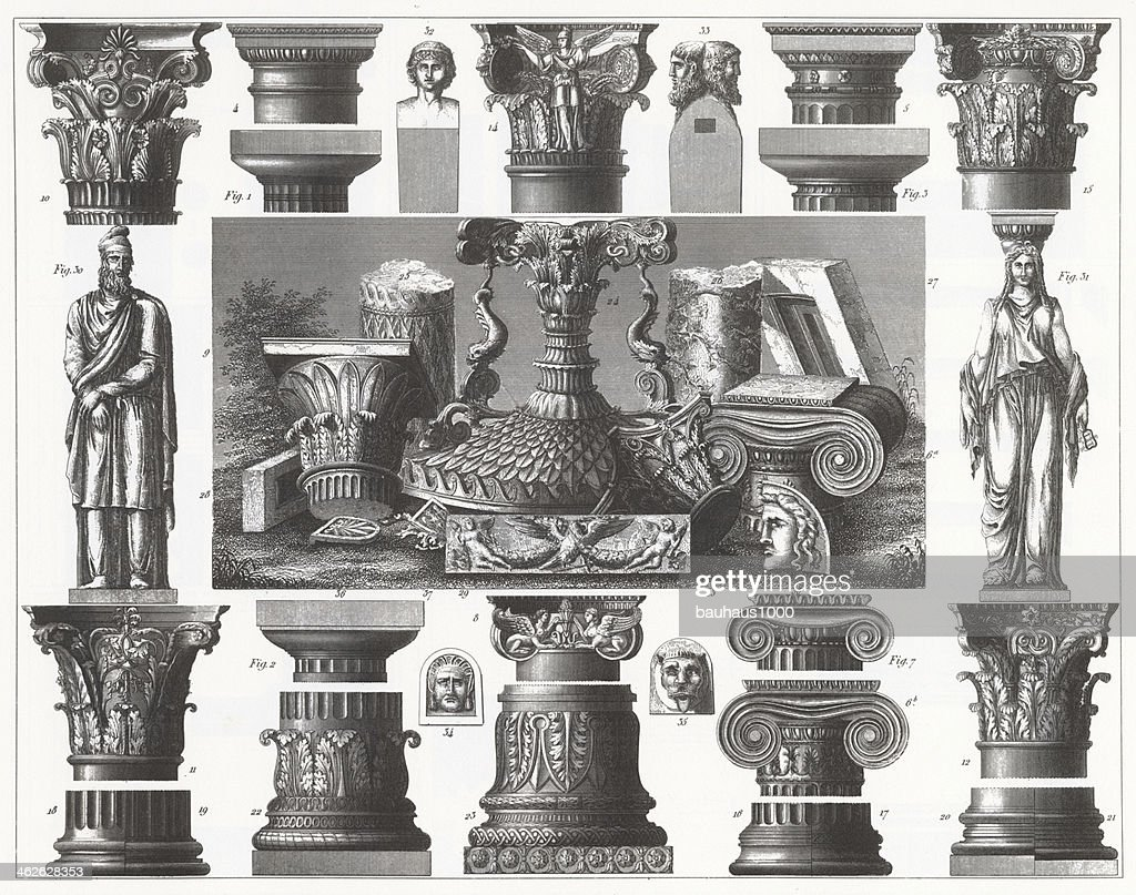 Engraving: Capitals and Bases : stock illustration