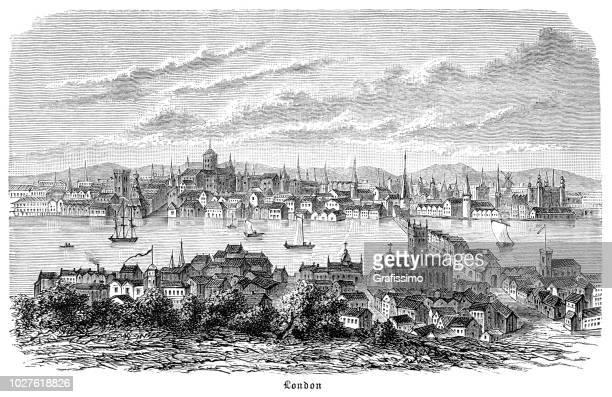 16 世紀のテムズ川とロンドンの街を彫刻 - テムズ川点のイラスト素材/クリップアート素材/マンガ素材/アイコン素材