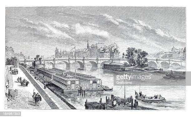 engraving city of paris with seine and pont neuf - historical document stock illustrations, clip art, cartoons, & icons