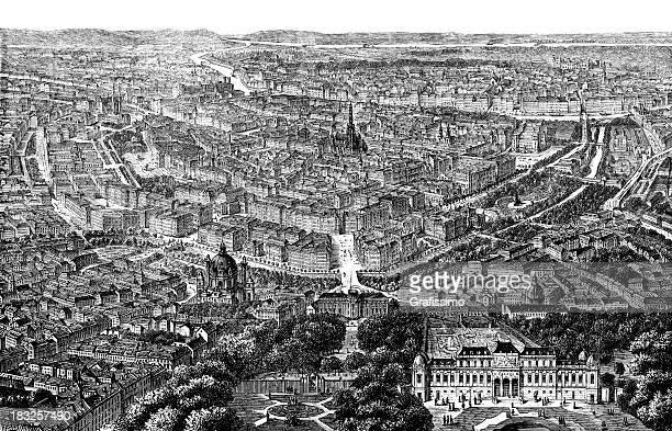 ilustrações de stock, clip art, desenhos animados e ícones de gravação cidade de viena, áustria de 1870 - panorâmica