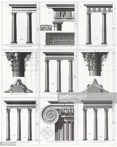 engraving: classical columns - corinthian stock illustrations, clip art, cartoons, & icons