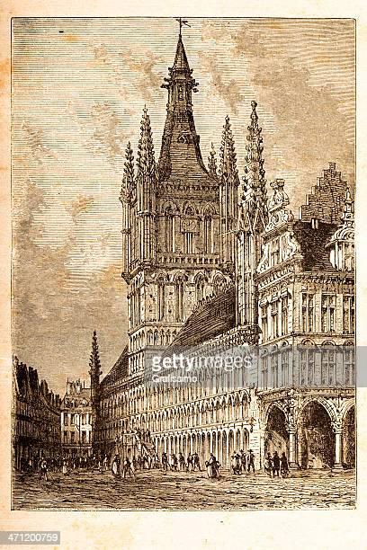彫り込みクロスホールイーペル、ベルギー 1881 - イーペル点のイラスト素材/クリップアート素材/マンガ素材/アイコン素材