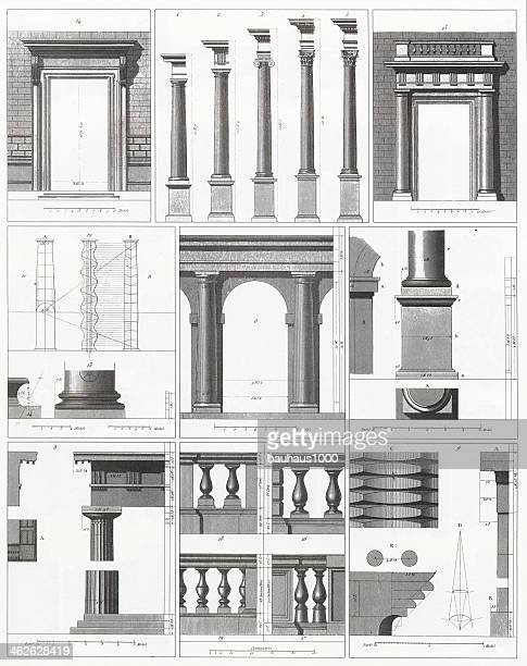 engraving: columns, doors and balusters - architectural feature stock illustrations, clip art, cartoons, & icons