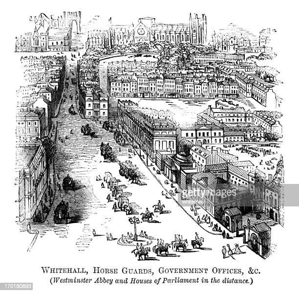 Engraving depicting Whitehall, Horse Guards etc. London