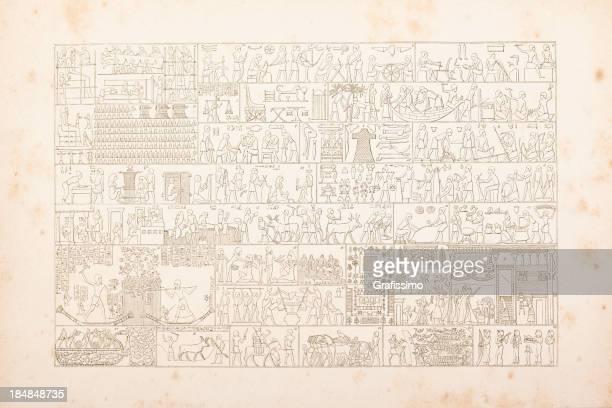 ilustrações, clipart, desenhos animados e ícones de entalhes hieróglifos egípcio da vida diária - cultura egípcia