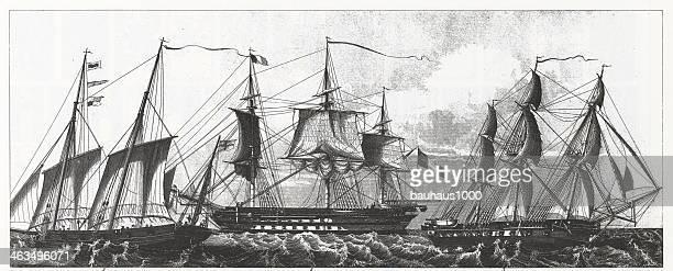 Engraving: European Ships
