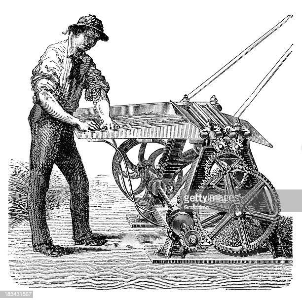 engraving farmer heckling flax on antique machine from 1882 - hemp stock illustrations, clip art, cartoons, & icons