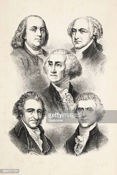 engraving five presidents of usa 1850 - us president stock illustrations