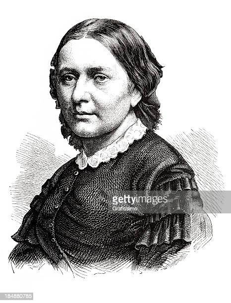 engraving german pianist and composer klara schumann 1870 - composer stock illustrations