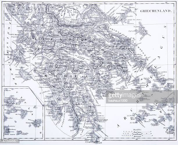 engraving: greece - greek islands stock illustrations, clip art, cartoons, & icons