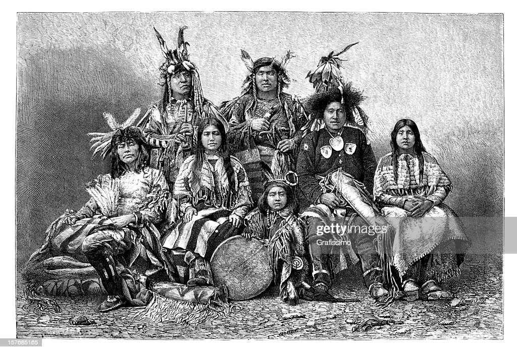 Engraving group of native americans from 1870 : stock illustration