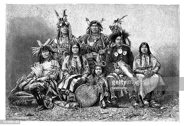 engraving group of native americans from 1870 - shoshone national forest stock illustrations, clip art, cartoons, & icons