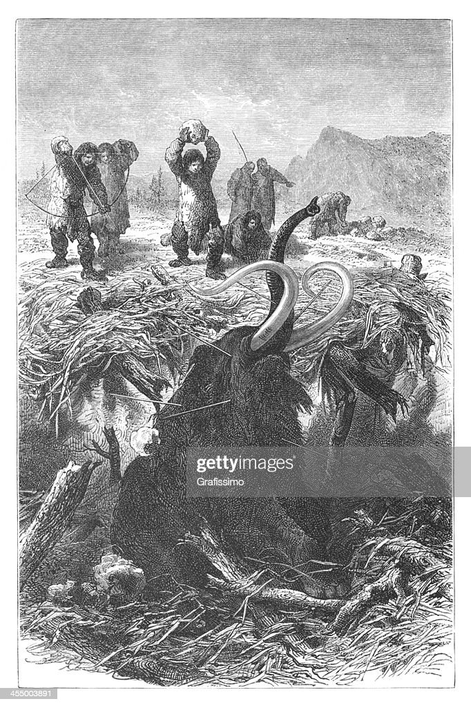 Engraving hunters killing mammoth at ice age : stock illustration