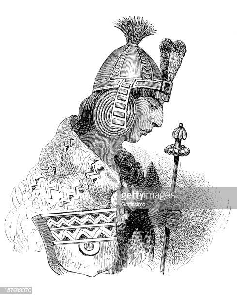 engraving inca prince portrait from 1870 isolated on white - inca stock illustrations, clip art, cartoons, & icons