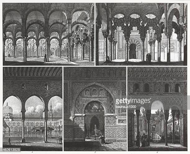 engraving: islamic architecture - seville stock illustrations, clip art, cartoons, & icons