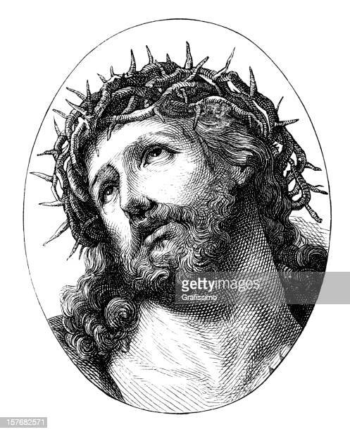 engraving jesus christ with crown of thorns from 1870 - jesus christ stock illustrations, clip art, cartoons, & icons