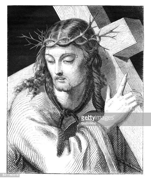 engraving jesuss carrying the cross 1842 - the crucifixion stock illustrations, clip art, cartoons, & icons