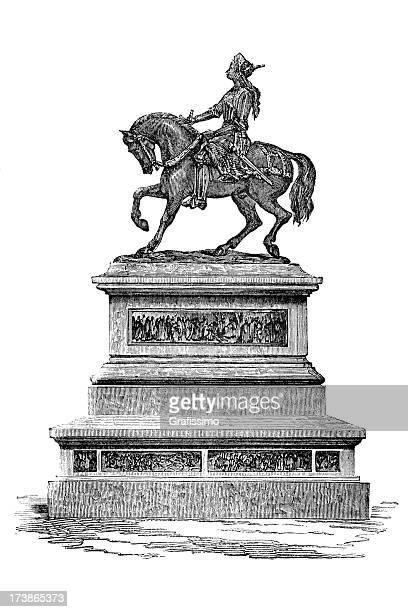 engraving joan of arc - cavalier cavalry stock illustrations, clip art, cartoons, & icons