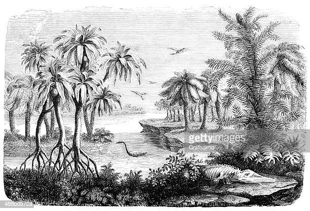 engraving landscape of jurassic period with dinosaur - jurassic stock illustrations, clip art, cartoons, & icons