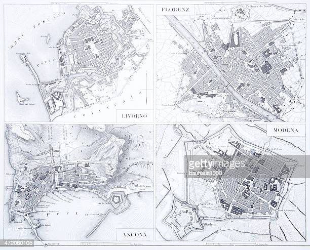 Engraving: Leghorn, Florence, Ancona and Modena