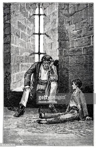 engraving man on a chain and noble boy in prison - child behind bars stock illustrations