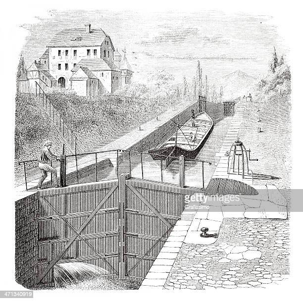 engraving man opening sluice gate for ship from 1880 - sluice stock illustrations