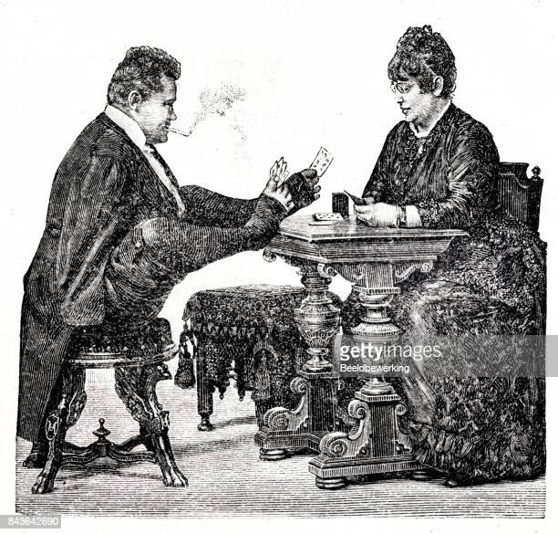 Engraving man without arms playing card with feet