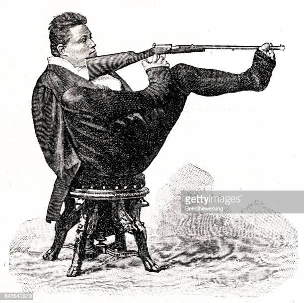Grabado a hombre sin brazos tomando un tiro