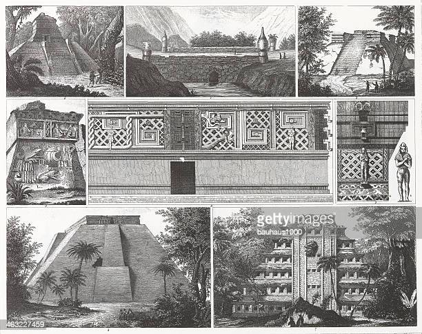 engraving: mayan architecture - temple building stock illustrations, clip art, cartoons, & icons