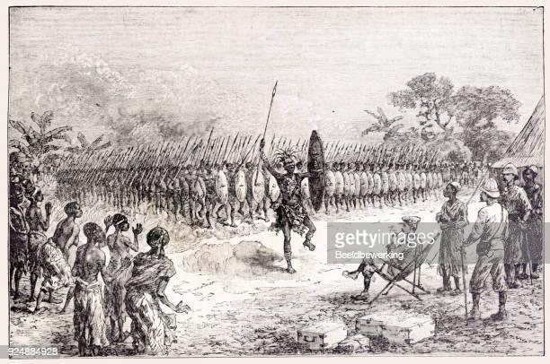 ilustrações, clipart, desenhos animados e ícones de gravura mazamboni dança de guerra madagascar - madagáscar